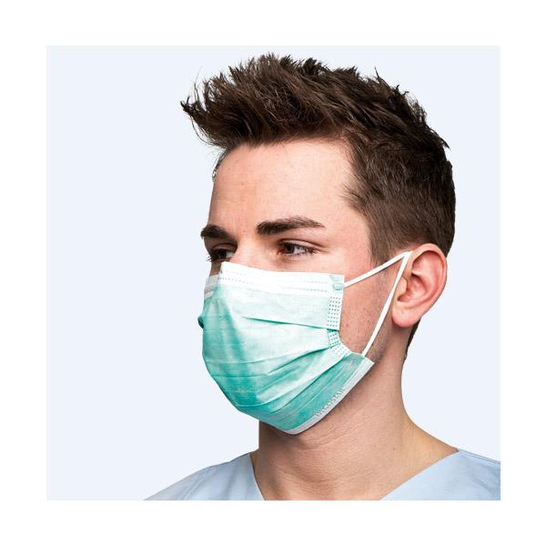 Chirurgische Maske Typ 2, mit Gummibändern um den Kopf