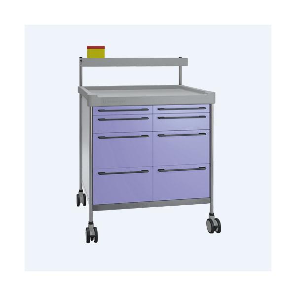 Narkosewagen Duo mit 8 Schubladen, violett
