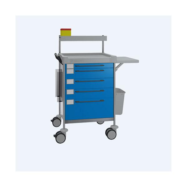Pflegewagen/Stationswagen mit 5 Schubladen, blau