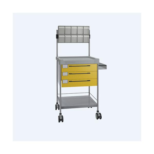Pflegewagen/Stationswagen mit 3 Schubladen, gelb