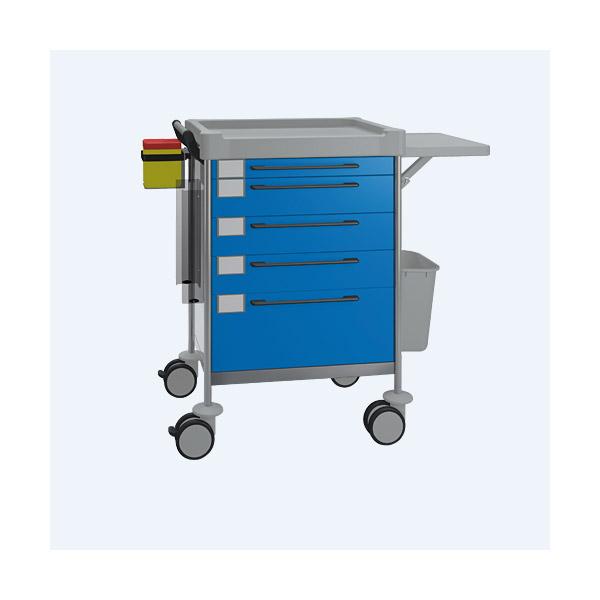 Pflegewagen/Stationswagen mit 5 Schubladen + Zubehör, blau